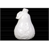Ceramic Pear Figurine with Leaf and Embossed Leaf Design SM Distressed Gloss Finish White