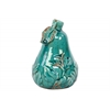 Ceramic Pear Figurine with Leaf and Embossed Leaf Design SM Distressed Gloss Finish Blue