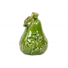 Ceramic Pear Figurine with Leaf and Embossed Leaf Design SM Distressed Gloss Finish Green