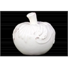 Ceramic Apple Figurine with Embossed Leaf Design SM Distressed Gloss Finish White