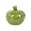 Ceramic Apple Figurine with Embossed Leaf Design SM Distressed Gloss Finish Green