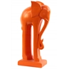 Ceramic Standing Elephant Figurine with Long Legs on Base LG Matte Finish Orange