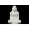 Ceramic Meditating Buddha Figurine with Rounded Ushnisha in Mida No Jouin Mudra LG Gloss Finish White