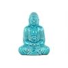 Ceramic Meditating Buddha Figurine with Rounded Ushnisha in Mida No Jouin Mudra LG Gloss Finish Blue