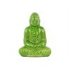 Ceramic Meditating Buddha Figurine with Rounded Ushnisha in Mida No Jouin Mudra LG Gloss Finish Green