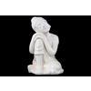 Ceramic Sitting Buddha with Rounded Ushnisha and Resting Head on Knee Figurine LG Gloss Finish White
