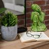 Ceramic Sitting Buddha with Rounded Ushnisha and Resting Head on Knee Figurine LG Gloss Finish Green