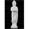 Ceramic Standing Buddha Figurine with Rounded Ushnisha on Lotus Base Holding a Basin Tealight Candle Holder Gloss Finish White