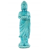 Ceramic Standing Buddha Figurine with Rounded Ushnisha on Lotus Base Holding a Basin Tealight Candle Holder Gloss Finish Blue