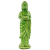 Ceramic Standing Buddha Figurine with Rounded Ushnisha on Lotus Base Holding a Basin Tealight Candle Holder Gloss Finish Green