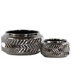 Ceramic Round Vase with Tapered Opening and Embossed Zig-zag Design Set of Two Polished Chrome Finish Silver