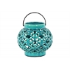 Ceramic Round Bellied Lantern with Metal Handle and Cloud Cutout Design Gloss Finish Blue