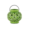 Ceramic Round Bellied Lantern with Metal Handle and Cloud Cutout Design Gloss Finish Green