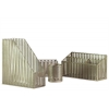 Metal Office Organizer with Pierced Metal Chevron Design Body Set of Four Metallic Finish Champagne