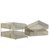 Metal Rectangular Office Organizer with Pierced Metal Chevron Design Body Set of Three Metallic Finish Champagne