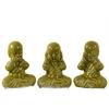 Ceramic Meditating Monk No Evil (Hear/Speak/See) Figurine Assortment of Three Gloss Finish Green