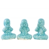 Ceramic Meditating Monk No Evil (Hear/Speak/See) Figurine Assortment of Three Gloss Finish Light Blue