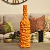 Ceramic Round Bottle Vase with Wrinkled Sides LG Gloss Finish Orange