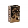Ceramic Rectangular Vase Dimpled Polished Chrome Finish Copper