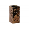 Ceramic Square Vase Dimpled Polished Chrome Finish Copper