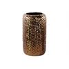 Ceramic Round Vase LG Dimpled Polished Chrome Finish Copper