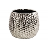Ceramic Round Vase Dimpled Polished Chrome Finish Silver