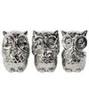 Ceramic Owl No Evil (See/Speak/Hear) Figurine Assortment of Three Polished Chrome Finish Silver