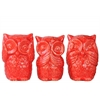 Ceramic Owl No Evil (See/Speak/Hear) Figurine Assortment of Three Gloss Finish Red