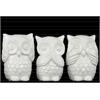 Ceramic Owl No Evil (See/Speak/Hear) Figurine Assortment of Three Gloss Finish White