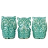 Ceramic Owl No Evil (See/Speak/Hear) Figurine Assortment of Three Gloss Finish Turquoise