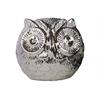 Ceramic Spherical Owl Figurine LG Polished Chrome Finish Silver