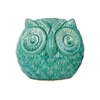 Ceramic Spherical Owl Figurine LG Gloss Finish Turquoise
