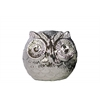 Ceramic Spherical Owl Figurine SM Polished Chrome Finish Silver