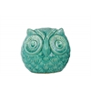 Ceramic Spherical Owl Figurine SM Gloss Finish Turquoise