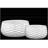 Ceramic Round Bowl-shaped Pot with Honey Comb Design Set of two Gloss Finish White