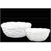 Ceramic Irregularly Round Pot Set of Two Wrinkled Finish Gloss Finish White
