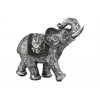 Polyresin Standing Trumpeting Elephant Figurine with Engraved Design and Embedded Mirror Brushed Finish Silver