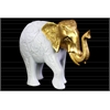 Polyresin Standing Elephant Figurine with Embossed Floral Design and Gold Head Matte Finish White
