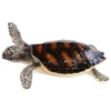 Resin Turtle on Belly with Brownish Shell Figurine LG Painted Finish Silver