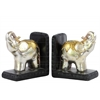 Resin Standing Trumpeting Elephant with Blanket Bookend on Base Assortment of Two Painted Finish Champagne