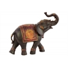Resin Walking Trumpeting Indian Elephant Figurine with Red Blanket SM Painted Finish Espresso Brown