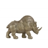 Resin Standing Rhinoceros Figurine SM Metallic Finish Beige