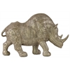Resin Standing Rhinoceros Figurine LG Metallic Finish Beige