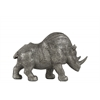 Resin Standing Rhinoceros Figurine SM Metallic Finish Silver