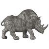 Resin Standing Rhinoceros Figurine LG Metallic Finish Silver