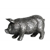 Resin Standing Pig Figurine with Engraved Floral Design SM Metallic Finish Silver