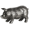 Resin Standing Pig Figurine with Engraved Floral Design LG Metallic Finish Silver