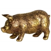 Resin Standing Pig Figurine with Engraved Floral Design LG Metallic Finish Gold
