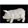 Resin Standing Pig Figurine with Engraved Floral Design SM Matte Finish White