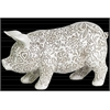 Resin Standing Pig Figurine with Engraved Floral Design LG Matte Finish White